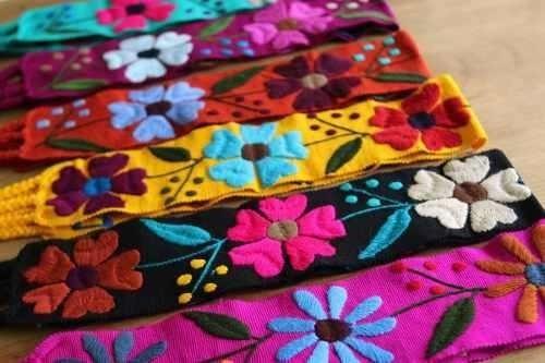 12 Fajas Artesanales Florales, Bordados De Chiapas