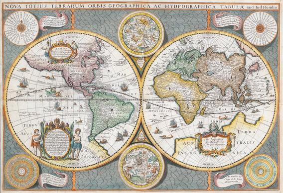Cuadros En Tela De Atlas Y Mapas Antiguos