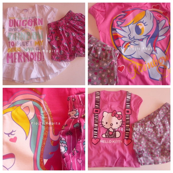 Set Conjunto Nena Pony Kitty Unicornio Skye Remera Y Short