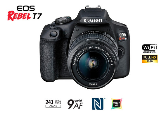 Câmera Eos Rebel Primiuns T7 Lente Ef-s 18-55mm Is Ii B+wifi