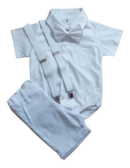Roupa Batizado Menino Body Bebê Camisa Social Suspens Gravat