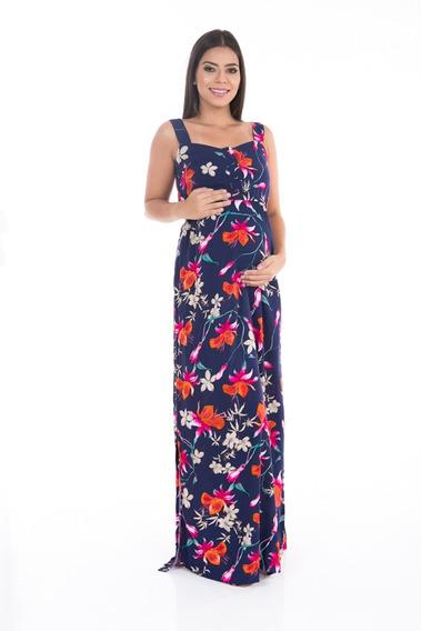 Vestido Gestante Longo Path Floral