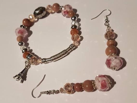 Bracelete E Brincos Cristais Pedras Natural Rhodochrosite