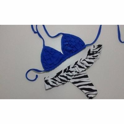 Biquini Panicat Babadinho Azul Com Zebra