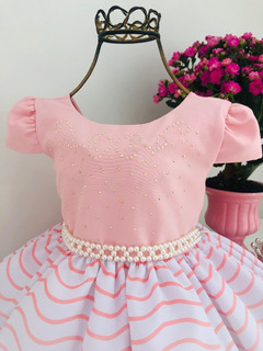 Vestido Princesa Rosa Floral Festas E Aniversários