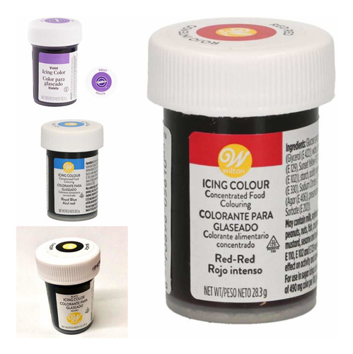 Imagen 1 de 2 de Pack 4 Colorantes Comestibles  Violeta+ Rojo +negro+ Azul