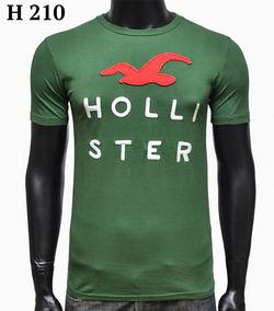 Camiseta Masculina Hollister Original Manga Curta Bordada