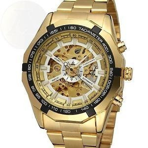 Reloj Skeleton Automatic Golden Fanmis Mens