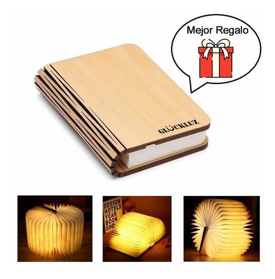 Lámpara De Noche Decorativa Led Libro 360° Luz Plegable Usb