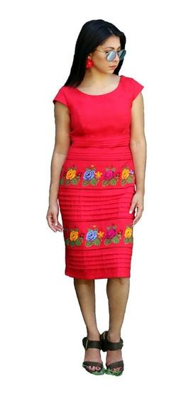 Vestido Bordado Punto Cruz Original Típico Yucateco Lino