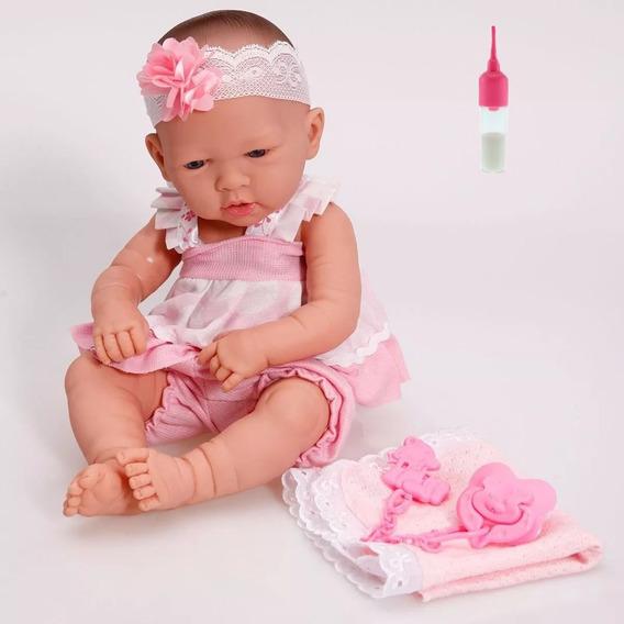 Coleção Bebê Estilo Reborn Ninos Com Mamadeira Mágica
