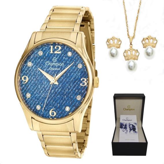 Relógio Champion Feminino Dourado Jeans + Kit