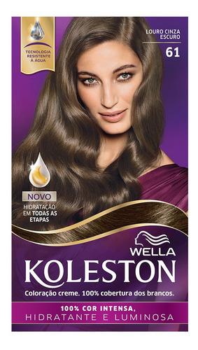 Coloração Creme Koleston Kit Louro Cinza Escuro 61