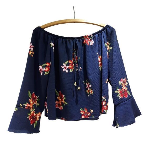 Blusa Ciganinha Azul Estampa Floral Manga Longa Flare