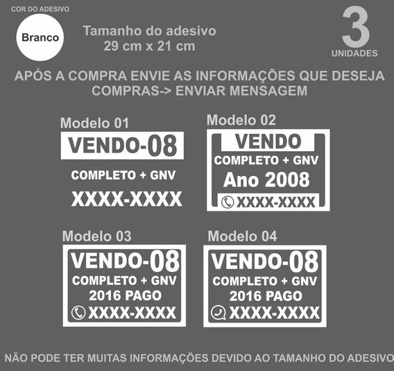 Adesivo P/ Venda De Carro Placa Vende-se -21x29 (3 Un)