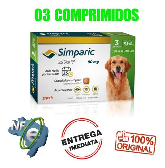 Simparic 80mg 20,1 A 40kg 3 Comp. Anti-pulgas E Carrapatos
