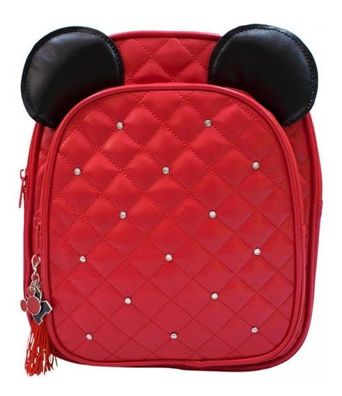 Mochila Orelhas Mickey Feminina Vermelha 3d Costas Disney