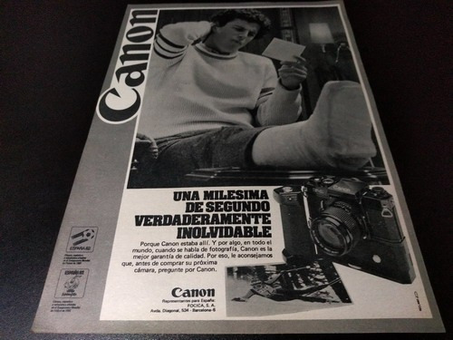 (pb450) Publicidad Clipping Camara Fotografica Canon * 1982