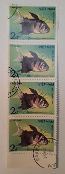 4 Estampillas De Vietnam Ornamental Fish Sc A399 1984