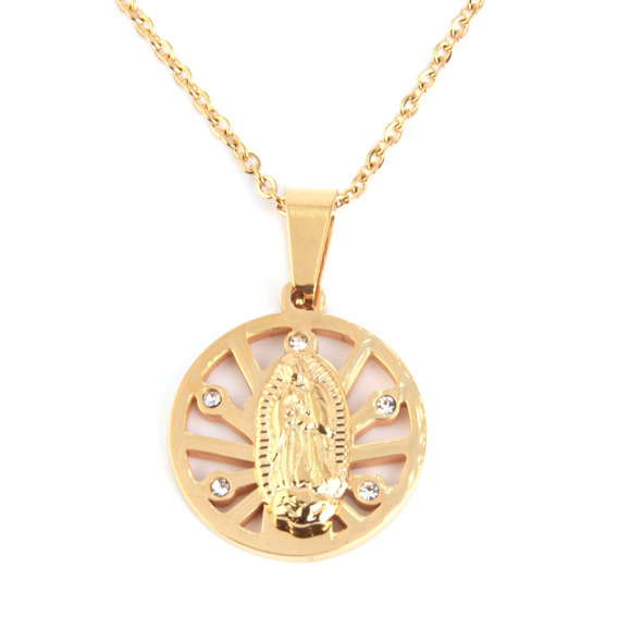 Collar Acero Dorado Medalla Nuestra Señora De Gudalupe Lujo