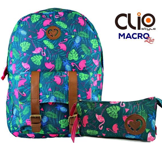 Mochila Flamingo Tropical Cg9250 Juvenil + Estojo Triplo Cli
