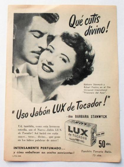 Clipping Antigua Publicidad Jabon Lux Año1950