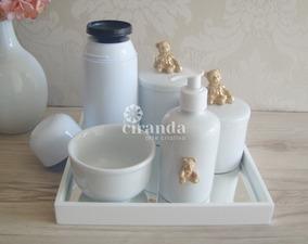 Kit Higiene Potes Porcelana + Bandeja + Termica - Promoção