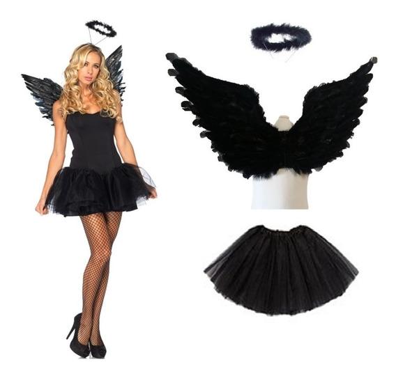 Disfraz De Angel Caido O Negro Con Aro Y Tutu Para Halloween