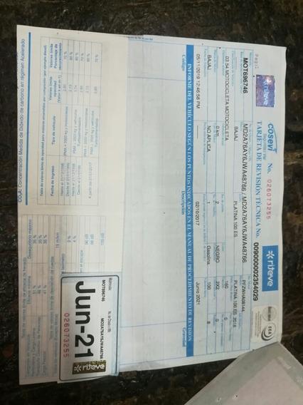 Bajaj 2018 / 100 Cc / Al Día ( Marchamo 2020 / Rtv 2021 )