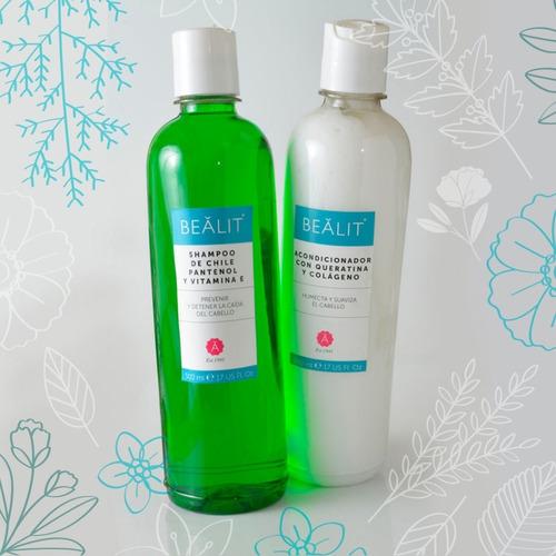 Imagen 1 de 2 de Kit Shampoo Chile Pantenol Y Acondicionador Keratina Bealit