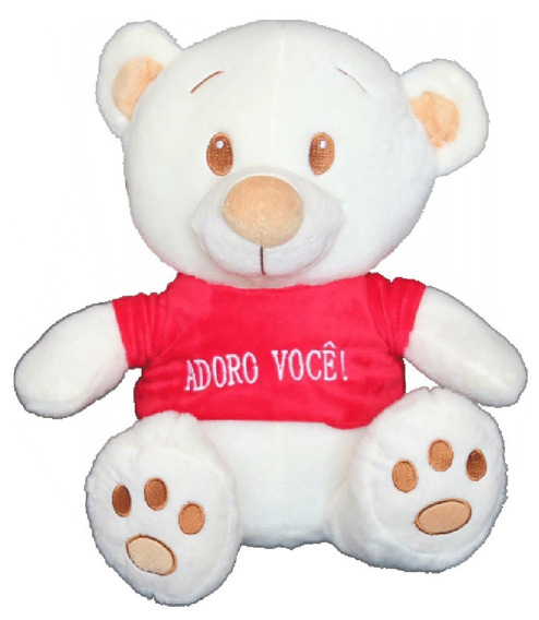 Urso De Pelúcia Branco Com Frase Adoro Você