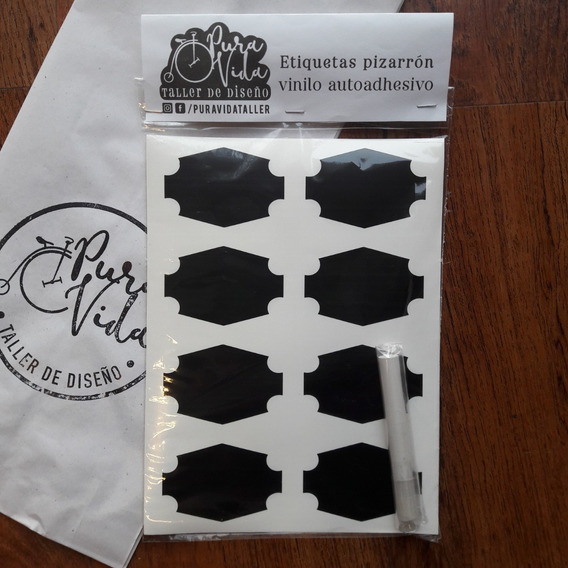 Etiqueta Autoadhesiva Vinilo Negro Mate Pizarron 6x4cm+tiza