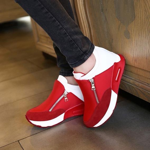 Mujeres Plataforma Oculto Cuña Zapatos Casual Plano Zapatill