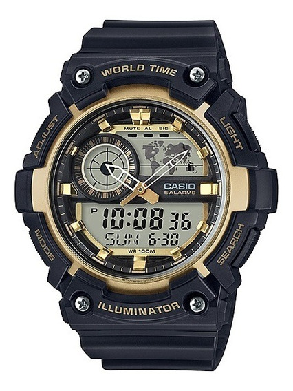 Relógio Casio Standard Masculino World Time Aeq-200w-9avdf