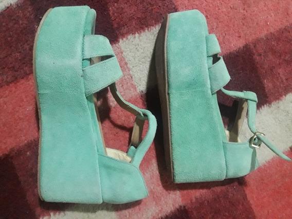 Zapatos De Gamuza Con Plataforma Verde Agua