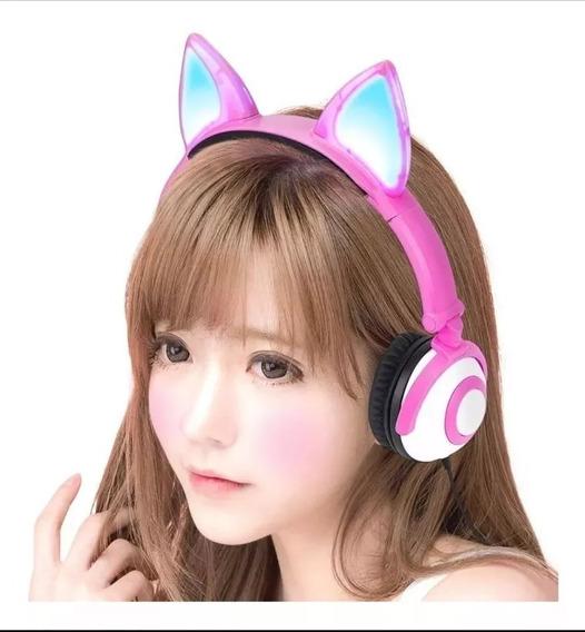 Fone De Ouvido Headphone Orelhas De Gato Cosplay Led Nf