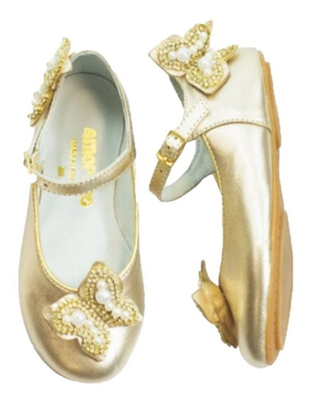 Sapato Infantil Feminino Amoreco Dourado Festa