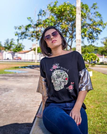 Tee Feminina Com Paetê - Distopia Store