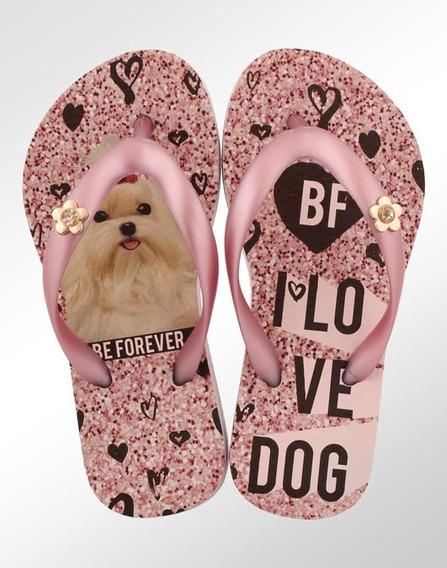Chinelo Infantil Rafitthy Be Forever Maltes I Love Dog