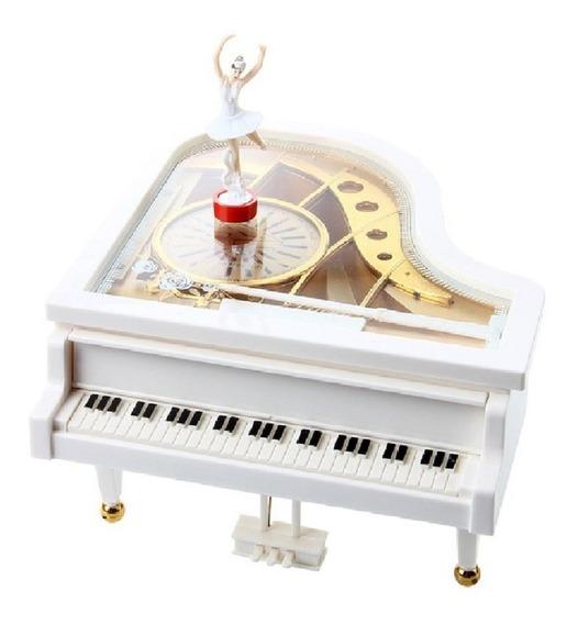 Caixa Caixinha De Música Piano Com Bailarina E Porta Jóias