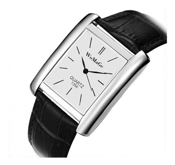 Relógio Retangular Prata Unissex Rg009u Pulseira Preto
