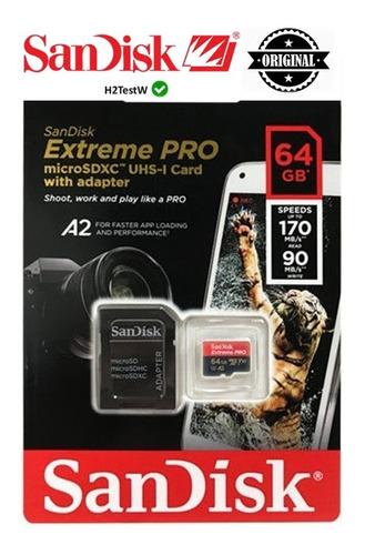 Imagem 1 de 6 de Cartão Memória Sandisk Extreme Pro Micro Sdxc 64gb A2