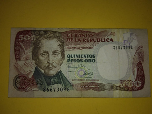 Billete De 500 Pesos Colombiano 2 De Marzo De 1992 -unicolor