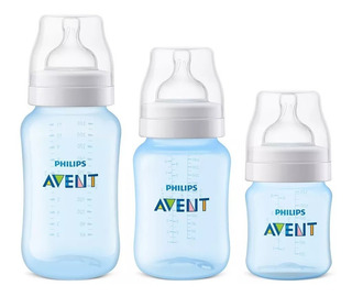 Kit 3 Mamadeiras Classic 125, 260, 330ml Anticolica Avent