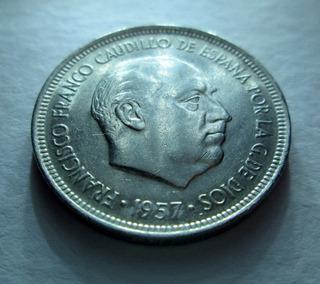 Moneda Española 5 Pesetas Caudillo Franco F. 1957