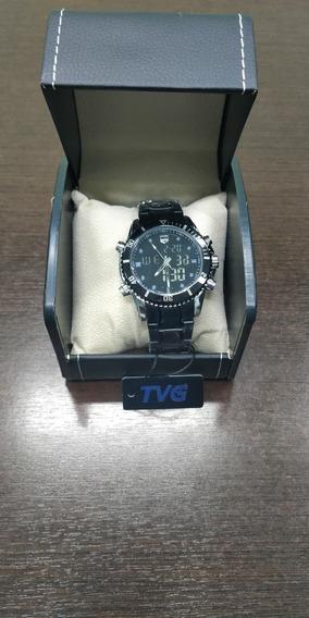 Relógio De Quartzo Forma Do Aço Tvg Dual Display 30metros