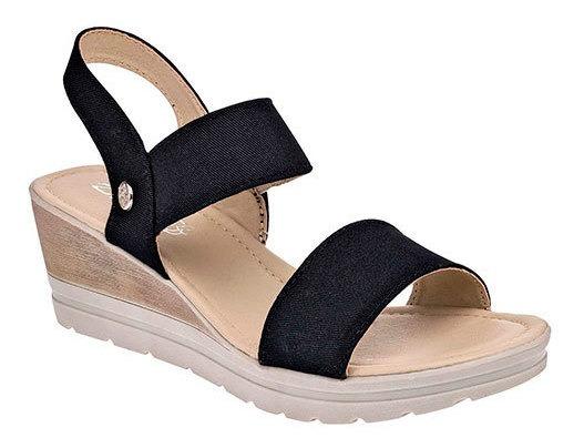 Zapato Comodo Dama Dash Negro Textil Tacon 6cm D05857 Udt