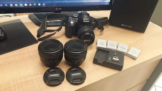 Câmera Nikon D5300 3 Lentes 4 Baterias Carregador Cartão 16g