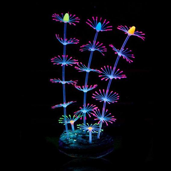 Planta Artificial Incandescente Coral Peixe Tank Ornamento D