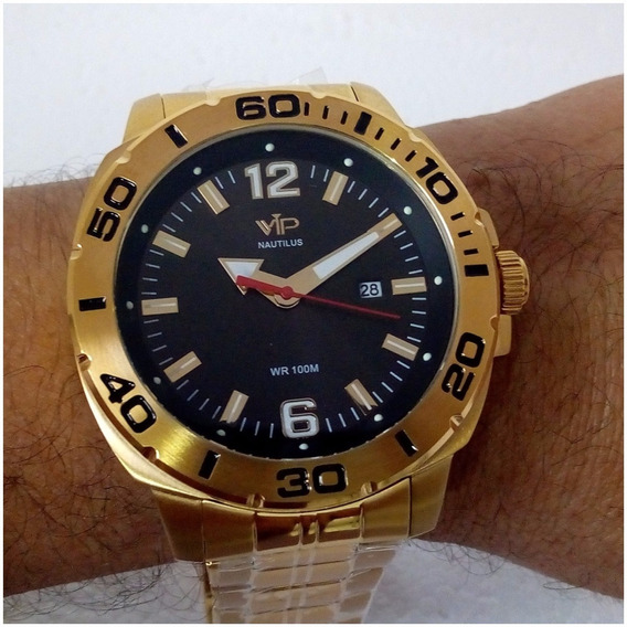 Relógio Masculino Vip Nautillus Original Ouro Prova Dágua